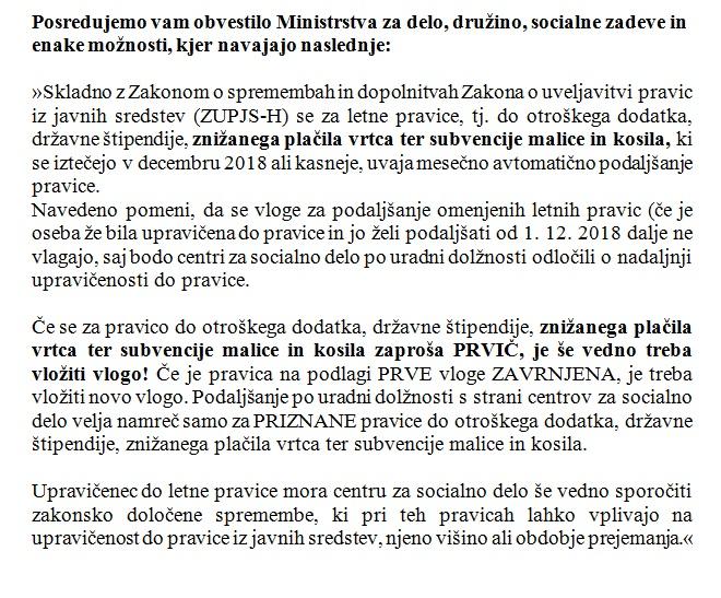Obvestilo Ministrstva – znižano plačilo vrtca